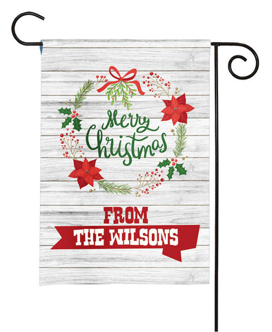 Personalized Christmas Garden Flag - Christmas Wreath