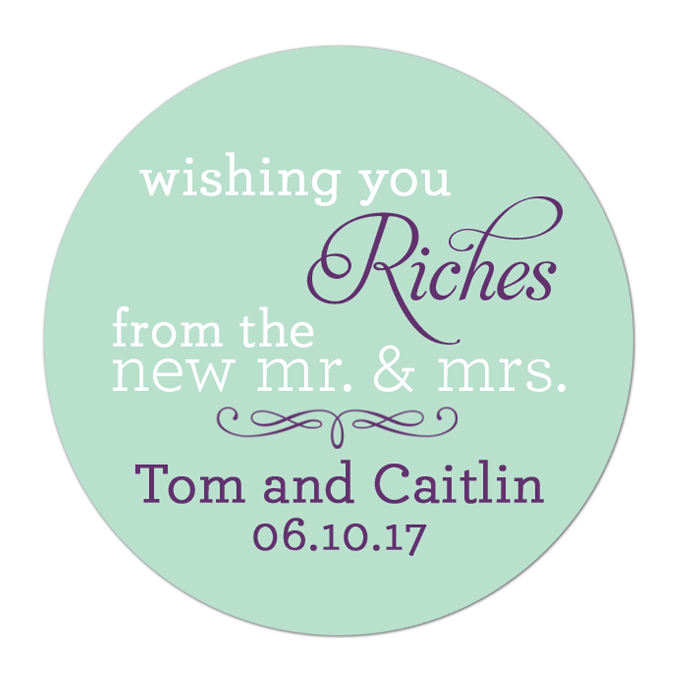 Wishing You Riches Personalized Sticker Wedding Stickers - INKtropolis