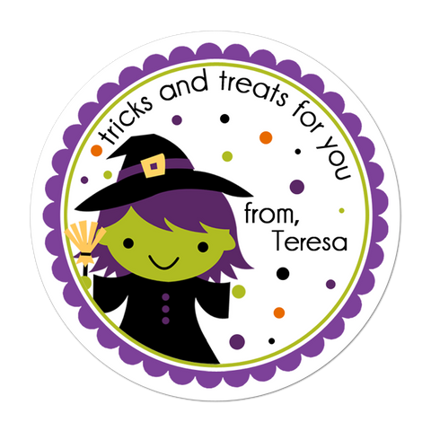 Witch Green Face Personalized Sticker