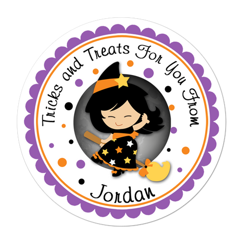 Asian Witch Personalized Halloween Sticker