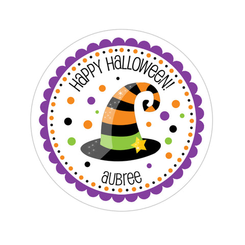 Whimsical Witch Hat Personalized Sticker