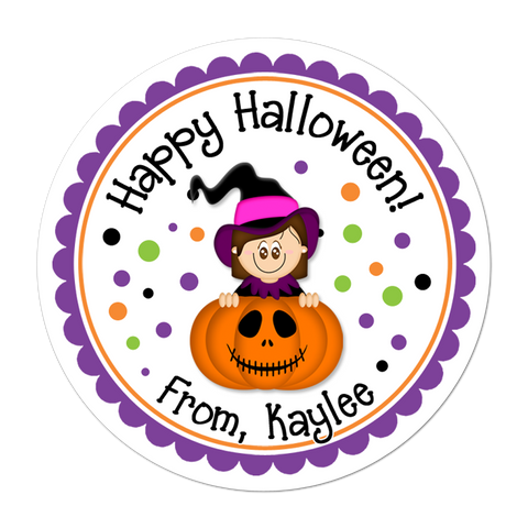 Witch In Pumpkin Personalized Sticker
