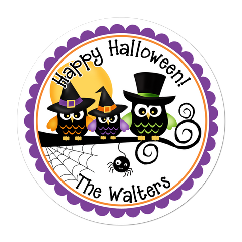 Halloween Owl Family Personalized Sticker