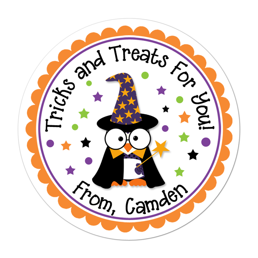 Wizard Owl Personalized Sticker Halloween Stickers - INKtropolis