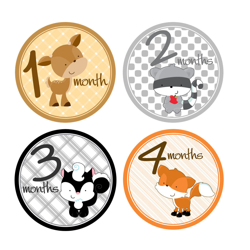 Woodland Critters Monthly Baby Stickers onesie sticker - INKtropolis