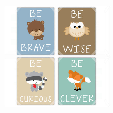 Woodland Animals Racoon, Bear, Fox, Owl Nursery Wall Art Decor - Set of 4