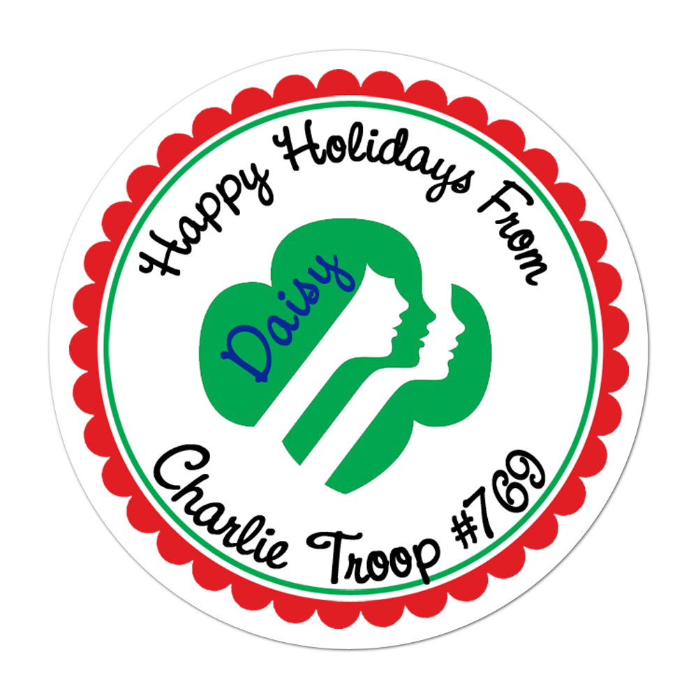 Holiday Girl Scout Personalized Sticker Christmas Stickers - INKtropolis