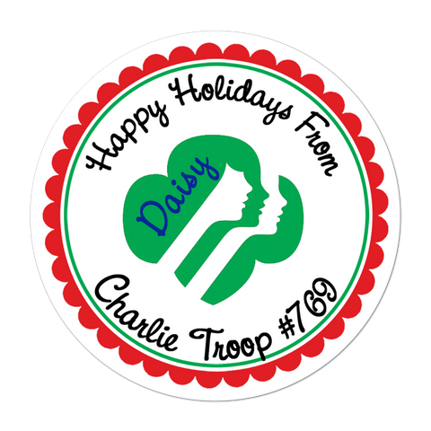 Holiday Girl Scout Personalized Sticker