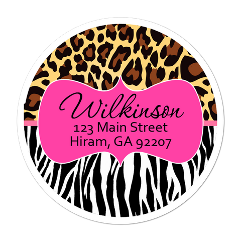 Zebra And Leopard Print Personalized Sticker