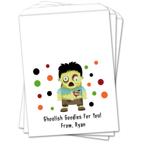 Zombie Personalized Halloween Favor Bags