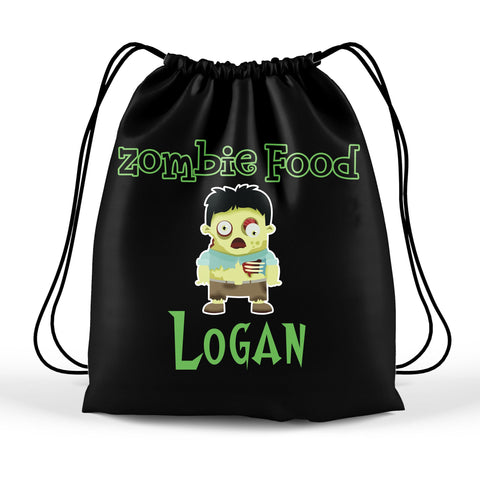 Personalized Halloween Trick Or Treat Bag, Kids Drawstring Bag - Zombie