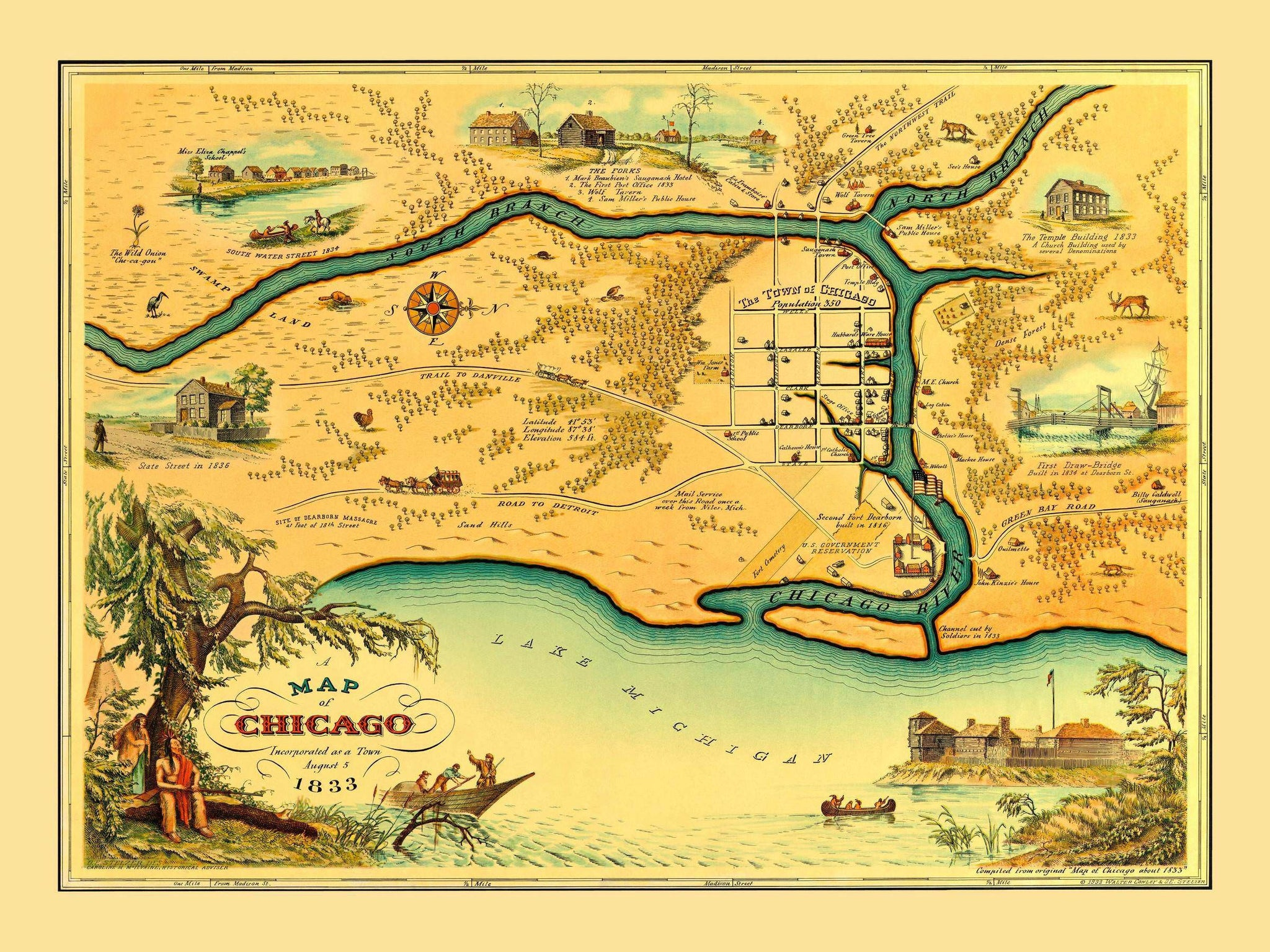 early chicago map 1830