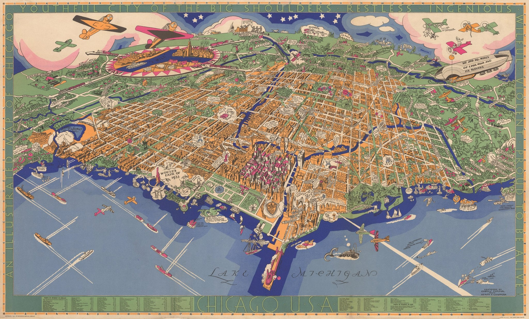 chicago aerial 1930s map