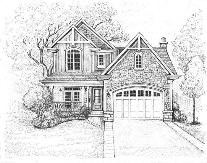 Home with prominent garage drawing