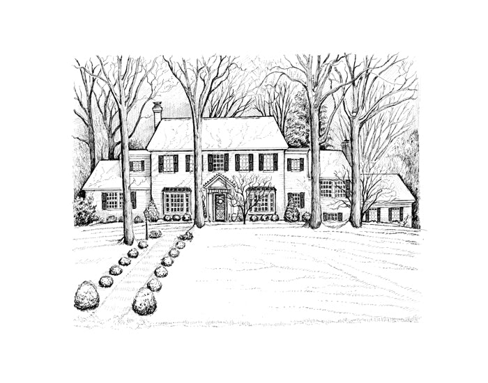 Colonial Home set back in the snow drawing