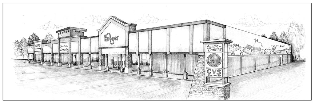 Storefront Rendering in Pen and ink