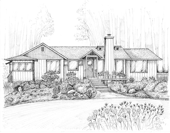 Ranch style home drawing