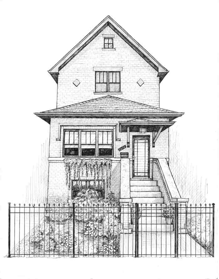 Chicago home and fence drawing