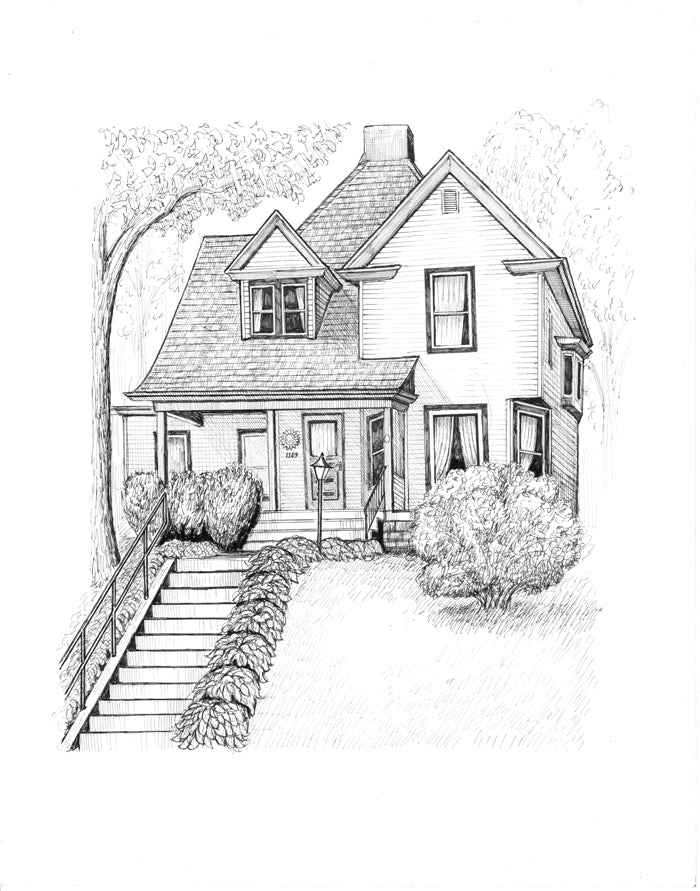 Home on the hill drawing