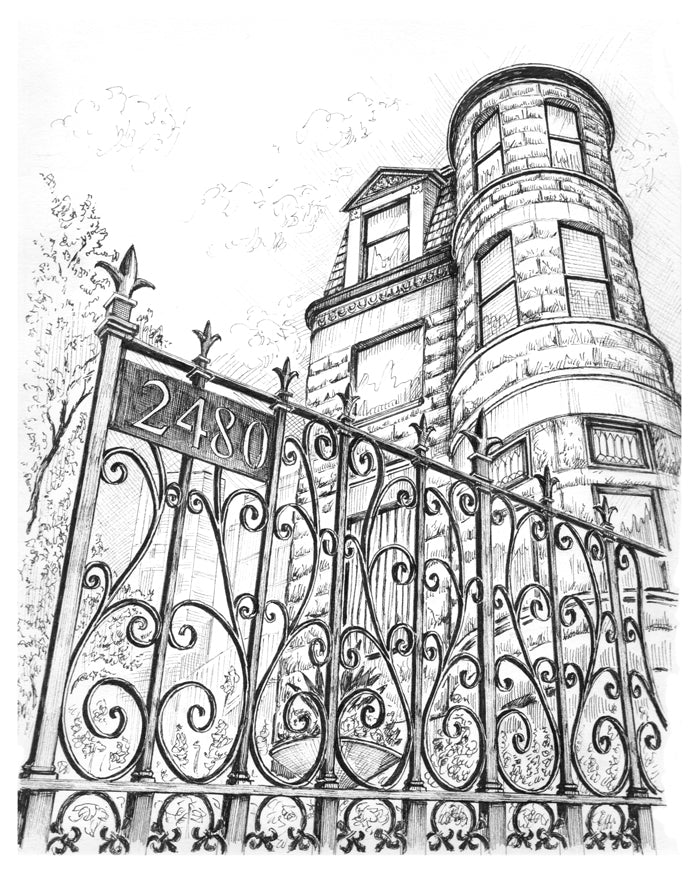 romanesque greystone drawing lincoln park