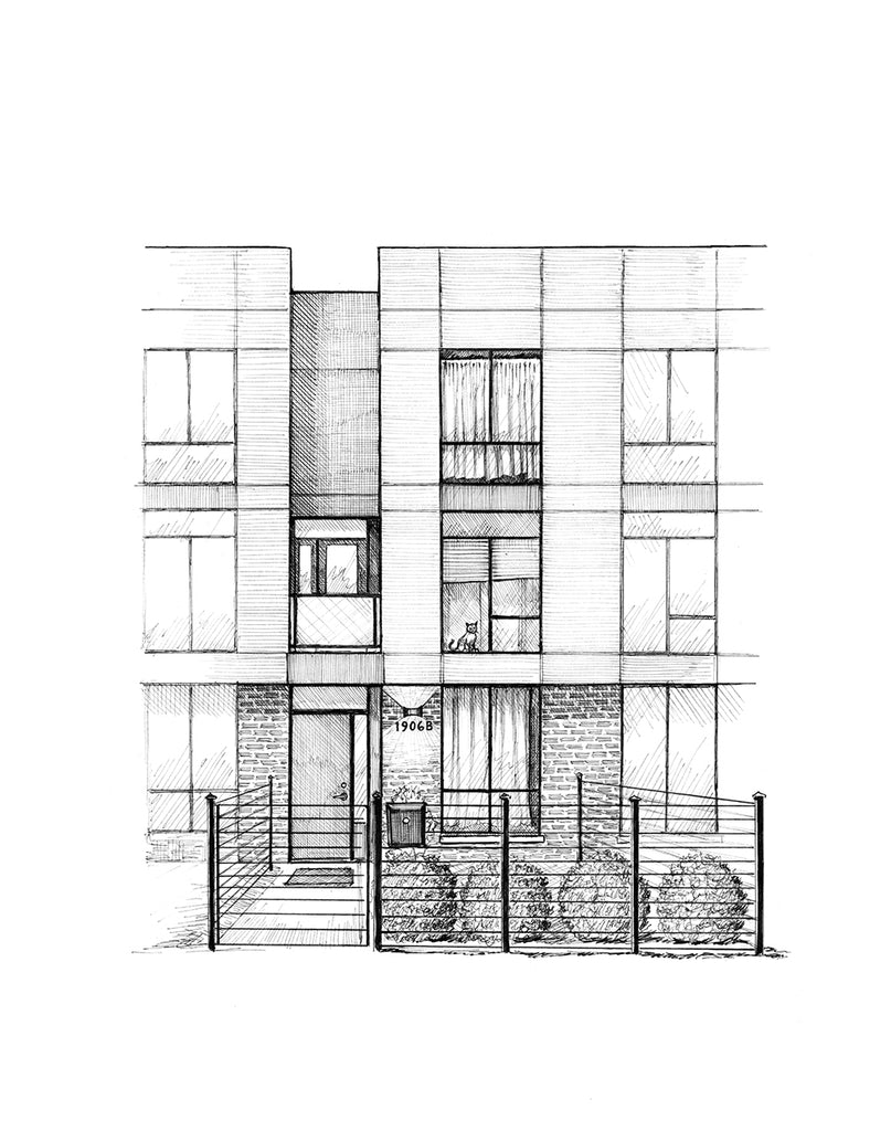 modern townhome drawing