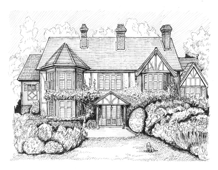 English Tudor mansion drawing