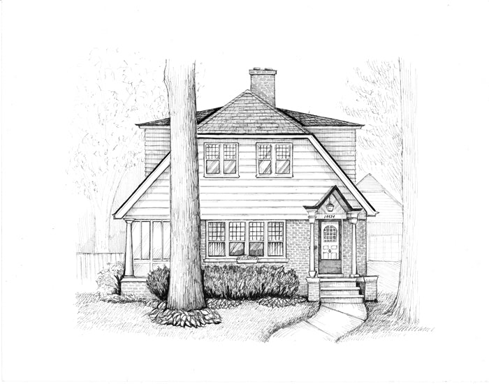 dutch roof detroit home drawing