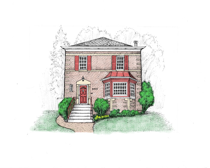 red shutters colonial home drawing