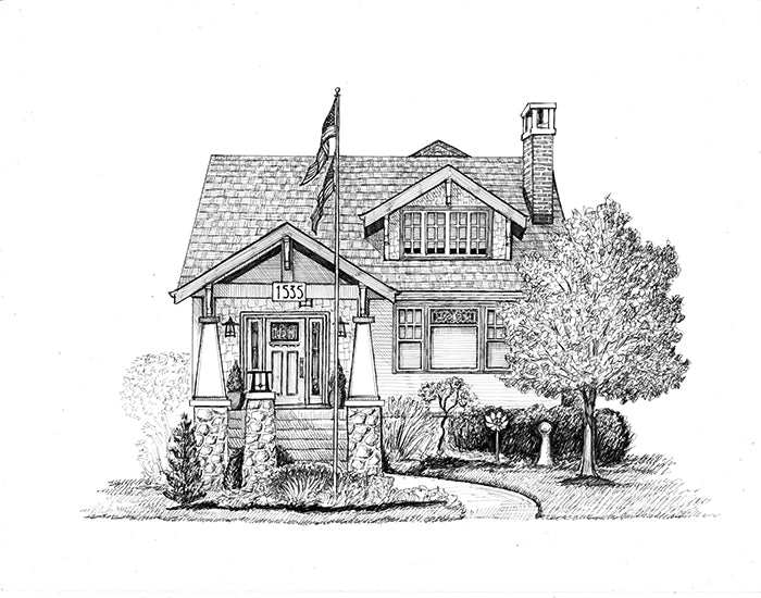 craftsman bungalow chicago suburbs drawing