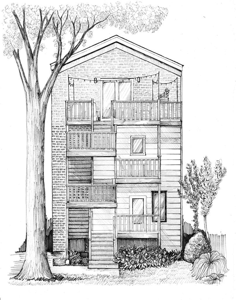 chicago back stairs drawing
