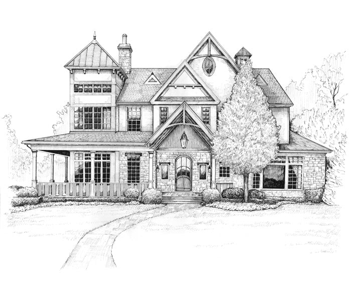 estate drawing in pen and ink