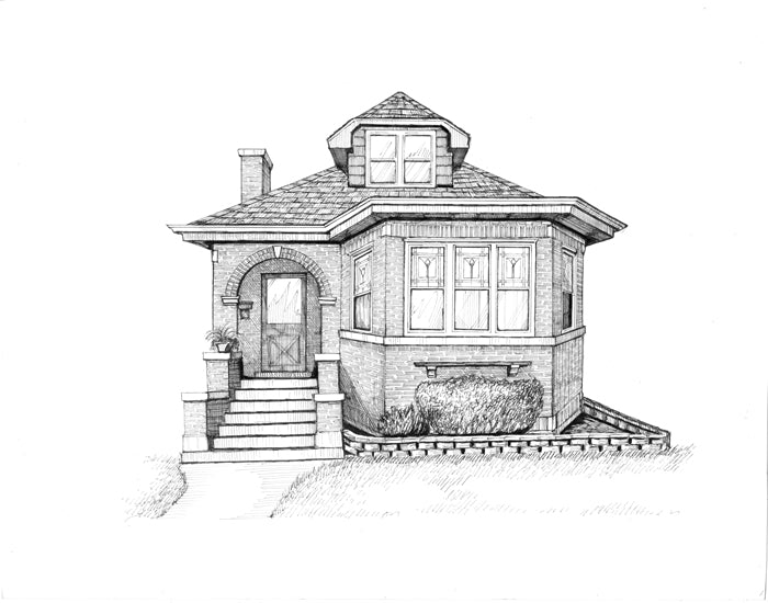 chicago bungalow drawing leaded glass