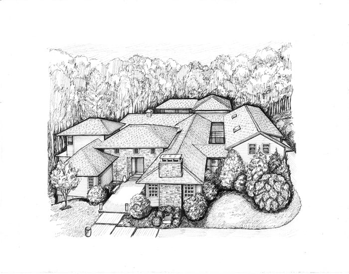 drawing of large home