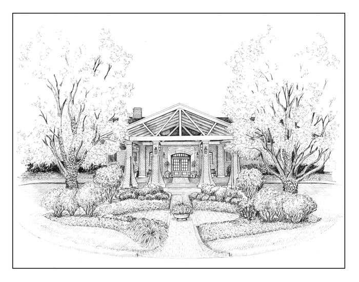 Skokie Country Club drawing pen and ink