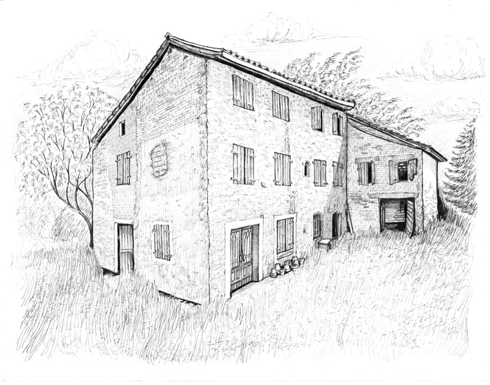 drawing italian farmhouse