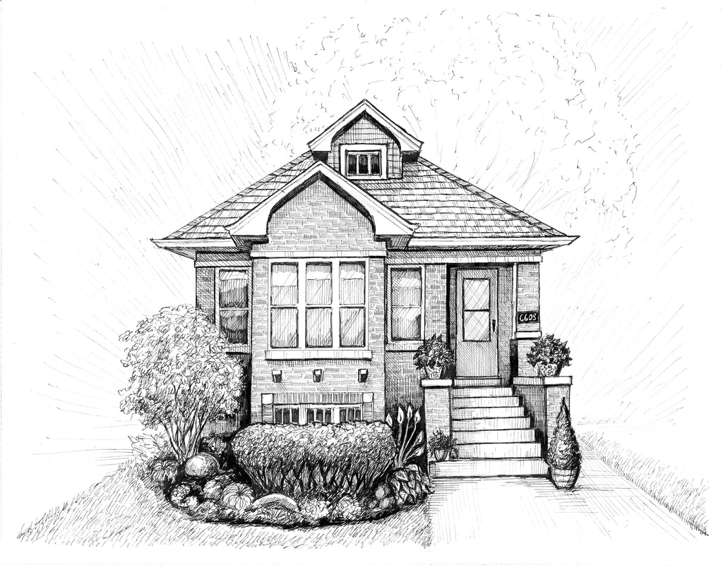 chicago bungalow drawing