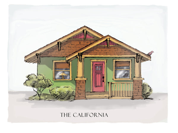 california bungalow drawing