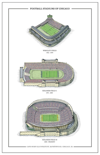 "Football Stadiums of Chicago (11"" x 17"")"