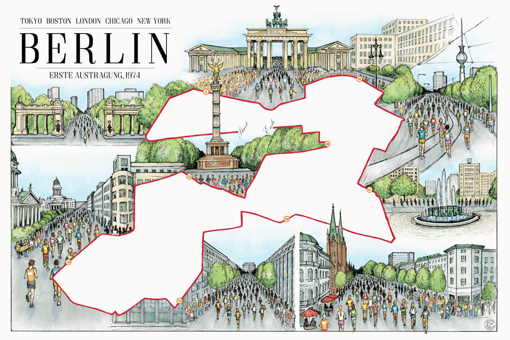 "Berlin: The Marathon Map (12"" x 18"")"