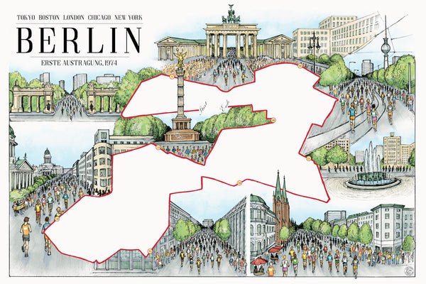 berlin the marathon map 12 x 18 building drawings and chicago prints. Black Bedroom Furniture Sets. Home Design Ideas