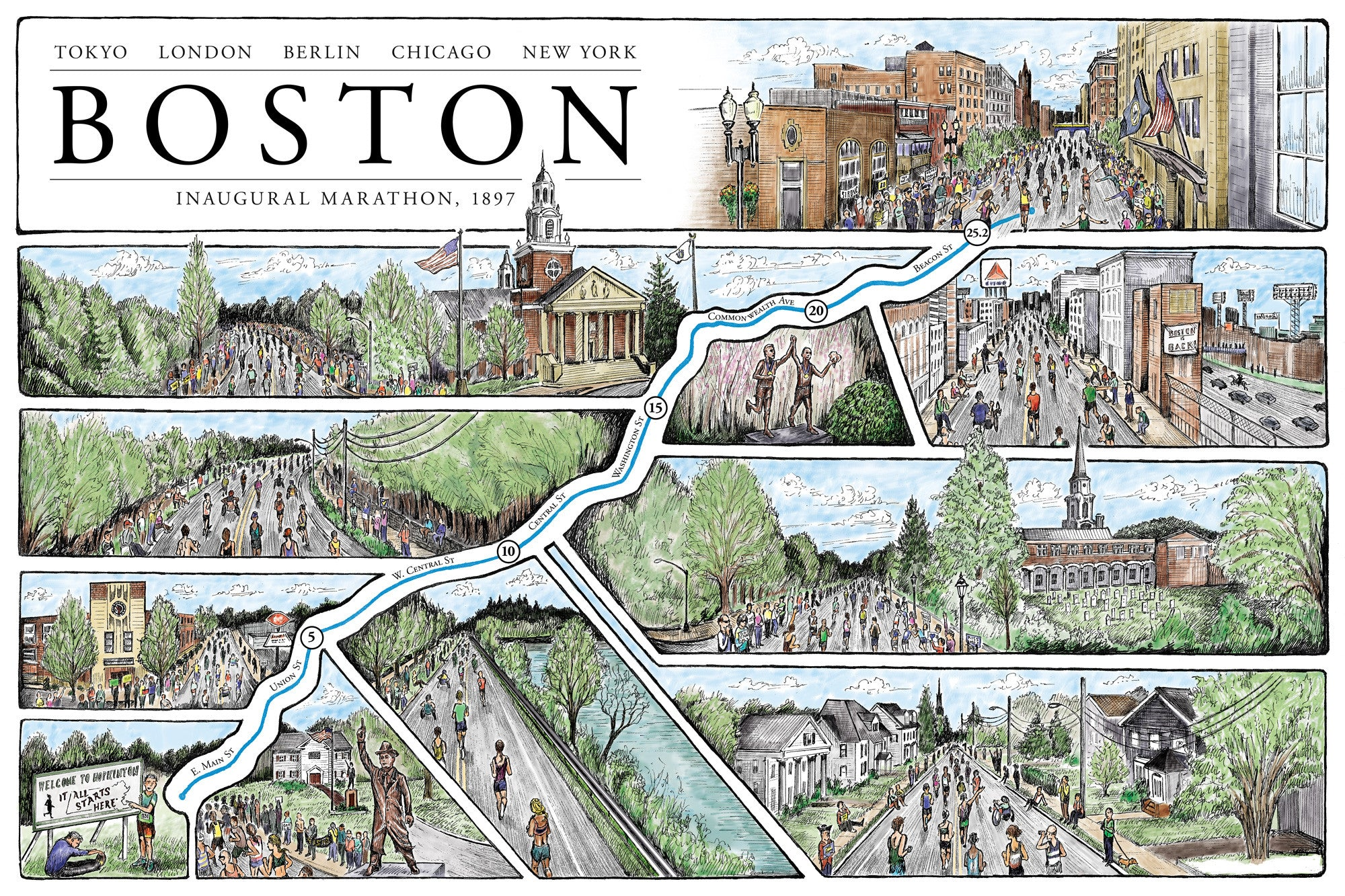 "Boston: The Marathon Map (12"" x 18"")"