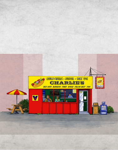"Tribute to the Iconic Chicago Hot Dog Stand (11"" x 14"")"