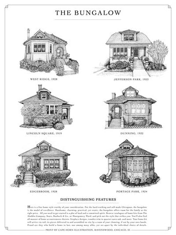 Chicago Greystone, Bungalow, Cottage, Two-Flat in Pen and Ink ...