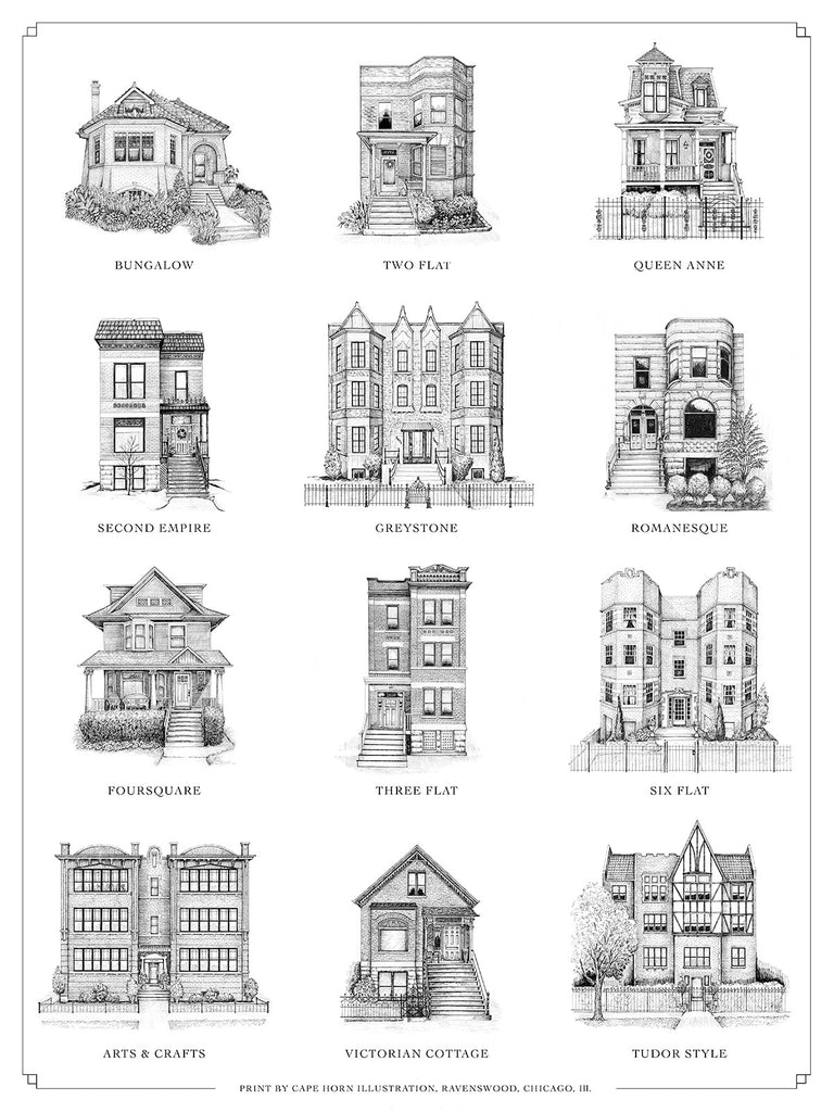 "A Guide to Chicago Home Styles (11""x14"" 