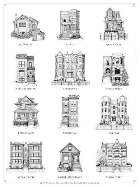 "A Guide to Chicago Home Styles (18"" x 24"")"
