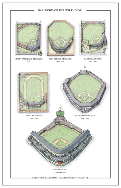 "Ballparks of the North Side (11"" x 17"")"