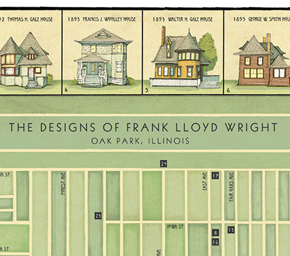 "The Designs of Frank Lloyd Wright: Oak Park, IL (11"" x 14"" 