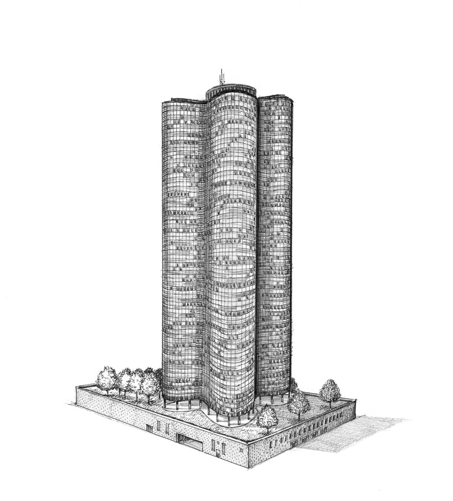 "Lake Point Tower drawing (11"" x 14"")"