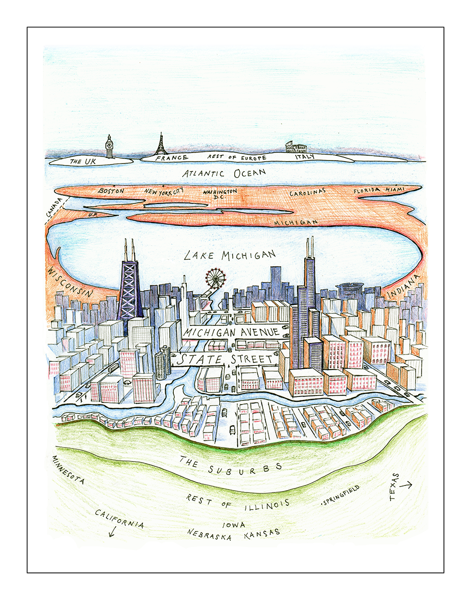 "Chicago to Chicagoans. New Yorker cover parody (11"" x 14"")"