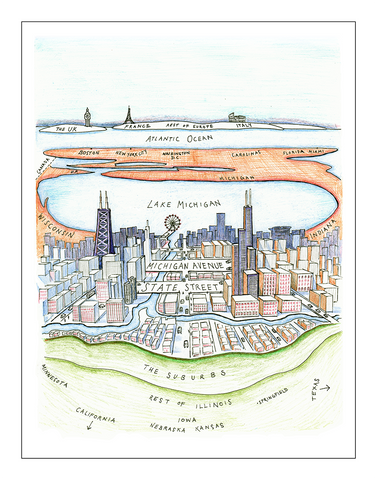 "Chicago to Chicagoans. New Yorker parody (11"" x 14"")"